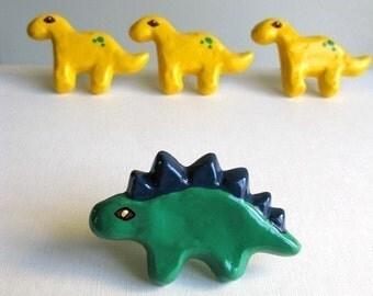 Green Stegosaurus Knob - Dinosaur Drawer Knob