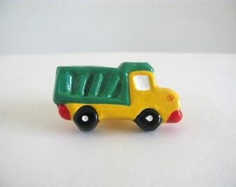 Dump Truck Knob - Dresser Drawer Knob - ceramic pull green yellow kids room
