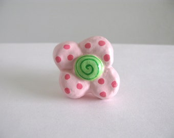 Pink and Green Flower Knob  - dresser drawer knob for girls room