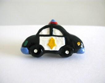 Police Car Knob - ceramic painted dresser drawer knob for kids room