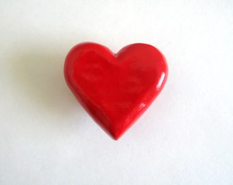 Red Heart Knob - ceramic dresser drawer knob pull