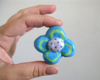 Flower Knob - Turquoise Blue - ceramic dresser drawer knob pull girls room