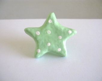 Star Knob - Pastel green with white polka dots, drawer hardware, furniture knob