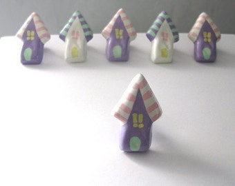 Little Lavender House Knob - painted metal drawer pull