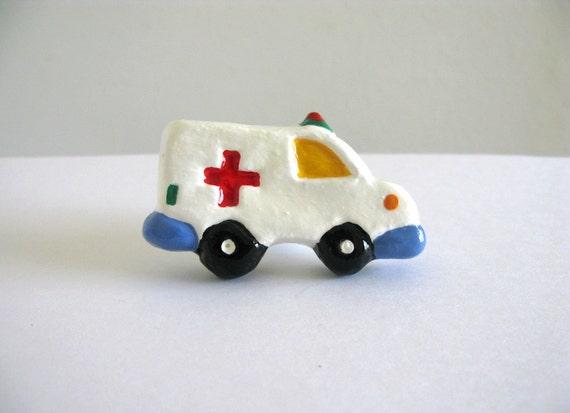 Ambulance Knob - ceramic painted dresser drawer knob for kids room