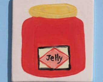 Red Jelly Jar Handmade Hand Painted Ceramic 3 x 3 Inch Tile T105