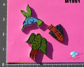 Pretty Birds  - Kiln Fired Handmade Ceramic Mosaic Tiles M1991