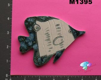 Big Blue Fish -  Kiln Fired Hand Paint Handmade Mosaic Tiles M1395