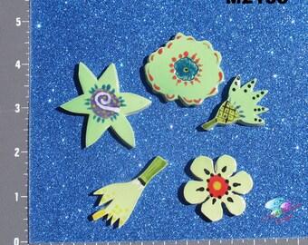 Bright Green  Flowers  - Kiln Fired Handmade Ceramic Mosaic Tiles M2153