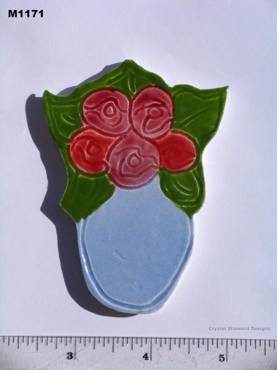 HEART BOUQUET - Kilned Fired Handmade Mosaic Tiles  M1171