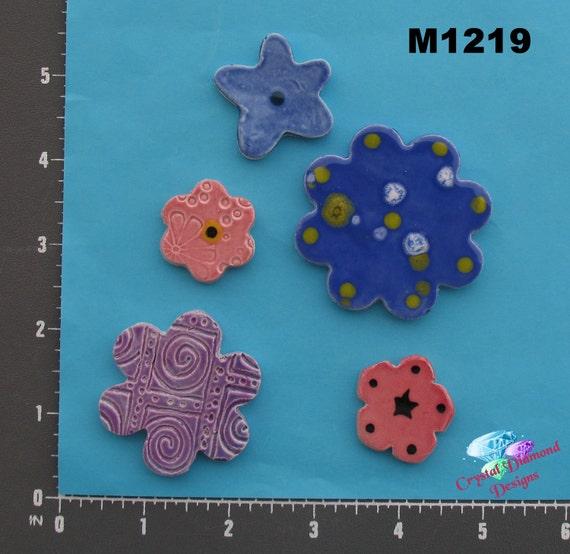 Assorted Flowers - Handmade Kiln Fired Mosaic Tiles - M1219