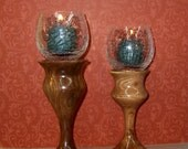 Pair Handturned Mesquite Candleholders-w\/4 Tea Lights-Your Choice