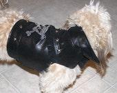 Black Leather Biker Dog Vest - Jacket