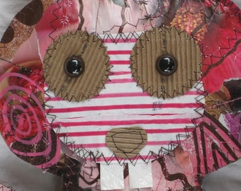 Recycled Paper Rabbit Pink and Brown
