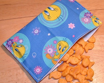 Reusable cloth snack bag - Tweety print