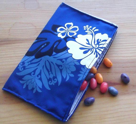 Reusable cloth snack bag - Hawaiian Hibiscus Blue