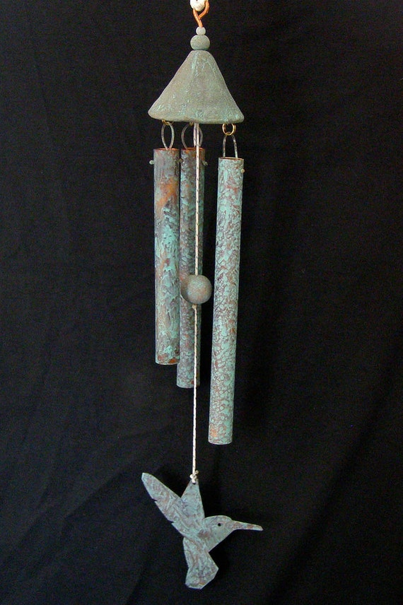 Decorative Copper and Ceramic Wind Chime with Patina