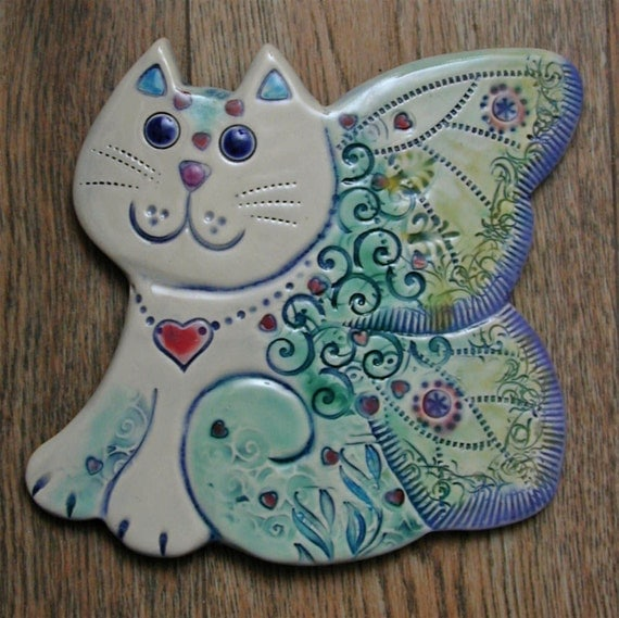 Ceramic Butterfly  Cat wall tile