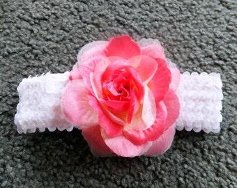 Varigated Pink Rose Headband