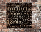 New York City streets and neighborhoods Typography graphic artwork on gallery wrapped canvas stephen fowler