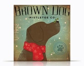 Brown Dog Mistletoe Company chocolate lab graphic artwork on gallery wrapped canvas illustration by stephen fowler