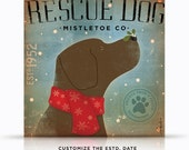 Rescue Dog Mistletoe Company graphic artwork on gallery wrapped canvas by stephen fowler