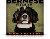 BERNESE Mountain Dog CIGAR company original illustration graphic art on gallery wrapped canvas by stephen fowler