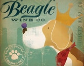 Regal Beagle Wine Company vintage style dog artwork giclee archival print 12 x 12
