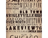 Chicago Streets Typography art graphic word art on gallery wrapped canvas by stephen fowler