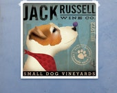 Jack Russell Wine Company original graphic illustration giclee archival signed artist's print by Stephen Fowler