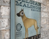 Belgian Malinois dog records album inspired vintage style dog artwork on gallery wrapped canvas by stephen fowler
