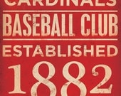 St Louis Cardinals  baseball typography graphic art on canvas 12 x 24 by stephen fowler