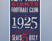 New York Giants Football club typography original graphic art giclee archival print 10 x 20 by Stephen fowler unframed