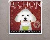 Bichon Frise Coffee graphic dog illlustration by stephen fowler giclee signed artists print