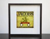 Children's Art Wagon racing team race car original illustration giclee archival print customize it