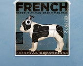 French Bulldog dog Records original illustration giclee archival signed print by stephen fowler geministudio PIck A Size - geministudio