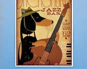 Dachshund Jazz Bar original graphic illustration giclee archival signed print  by Stephen Fowler