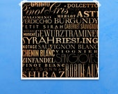 Wine typography graphic word artwork giclee archival print by stephen fowler