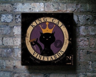 King Cat Vineyards illustration graphic art on canvas 12 x 12 by stephen fowler