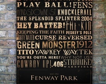 Fenway Park Red Sox typography original graphic on gallery wapped canvas by stephen fowler