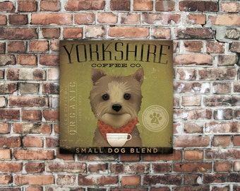 Yorkshire Terrier Yorkie Coffee Company original graphic art on gallery wrapped canvas by Stephen Fowler
