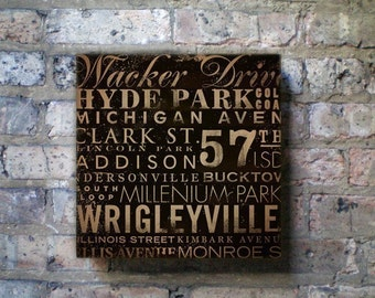 Chicago Streets typography Canvas Art graphic art on gallery wrapped canvas by stephen fowler