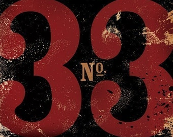 Number 33 thirty three typographic  graphic art on canvas by stephen fowler gemini studio