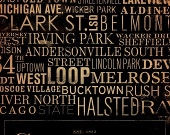 Chicago Streets Typography 9 x 12  giclee archival print by stephen fowler