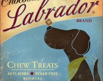 Chocolate Labrador Chew Treats original illustration giclee archival signed artist's print by stephen fowler