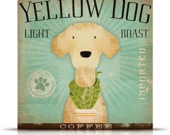 Yellow Dog Labrador Coffee Company original illustration giclee archival signed print by Stephen Fowler