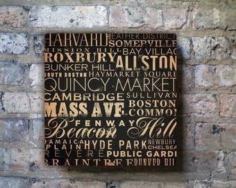 BOSTON neighborhoods typography graphic art on gallery wrapped canvas by stephen fowler