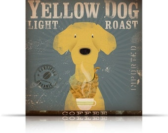 Yellow Dog Labrador Coffee Company original graphic art on gallery wrapped canvas by stephen fowler