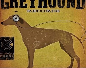 Greyhound records album inspired dog artwork original graphic art on gallery wrapped canvas by stephen fowler