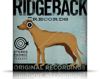 Ridgeback Records original vintage style graphic art on gallery wrapped canvas by stephen fowler